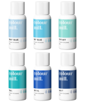 6 Pack  Blues - Colour Mill 20ml  - Baby Blue, Sky Blue, Tiffany, Teal, Royal & Navy