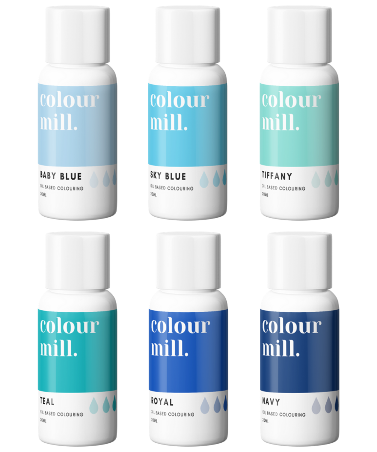 6 Pack  Blues - Colour Mill 20ml  - Baby Blue, Sky Blue, Tiffany, Teal, Roy
