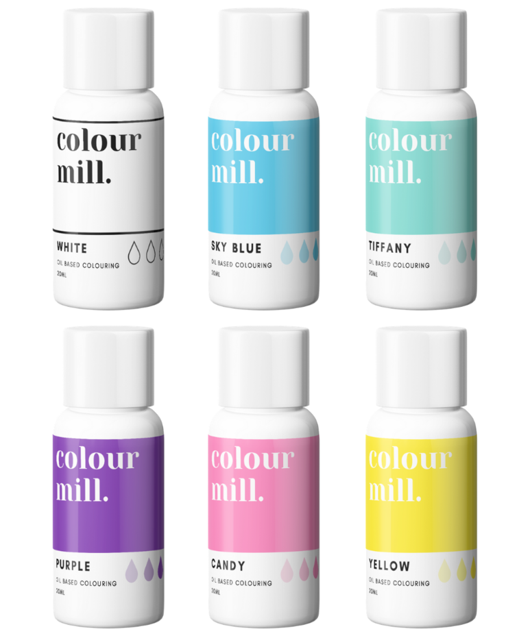 6 Pack  Rainbow - Colour Mill 20ml  - White, Sky Blue, Tiffany, Purple, Can