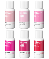 6 Pack  Pinks - Colour Mill 20ml  - Baby Pink, Rose, Candy, Hot Pink, Raspberry & Red