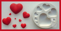 Alphabet Moulds Sugarcraft Mould - Hearts Multi x 8