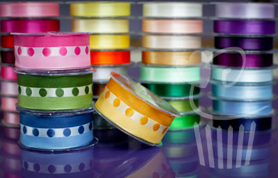 Ribbon: Polka Stripe Sheer - 40mm x 5mtrs