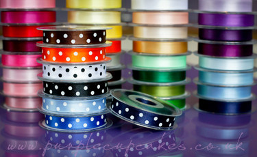 Polka Dot Ribbon 15mm wide x 5mtrs:  Navy