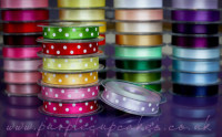 Polka Dot Ribbon 15mm wide x 5mtrs:  Orchid (Lilac)