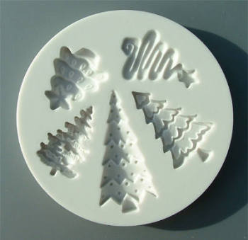 Cupcake Mould - Christmas Trees set of 5