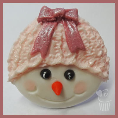 Cupcake Mould - Christmas Snowman with bow