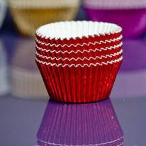 Cupcake Cases FOIL - Red