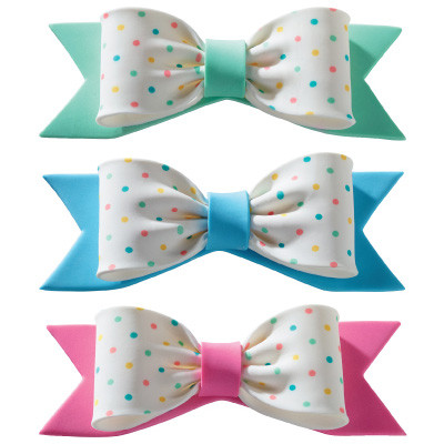 Gumpaste Bow Pastel Dots Green