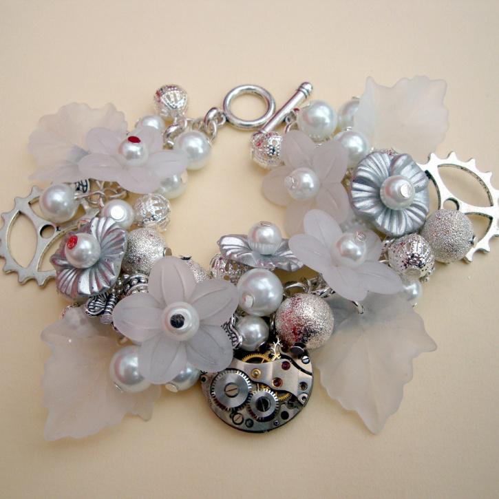 Steampunk bride bracelet - watch movement, cogs, pearls, flowers