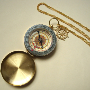 Golden compass necklace on long chain PN136