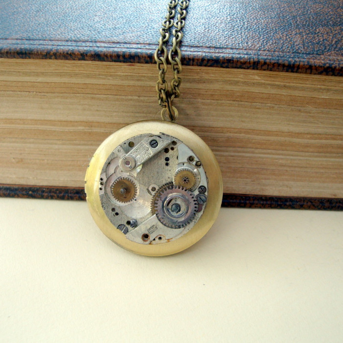 Steampunk watch movement locket necklace SN115