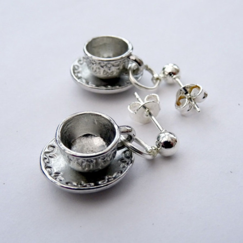 Teacup earrings in silver vintage style VE052