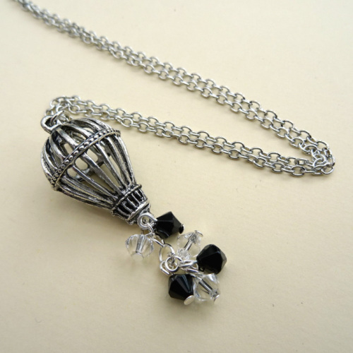 Steampunk hot air balloon necklace silver with beads SN117