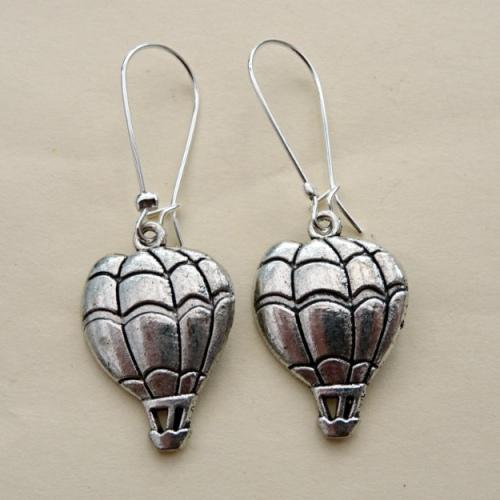 Steampunk hot air balloon earrings in silver SE040