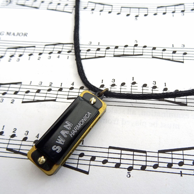 Mini harmonica necklace on black cotton cord MN024