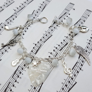 Plectrum charm bracelet in white - It's Not Rock & Roll - CCB056