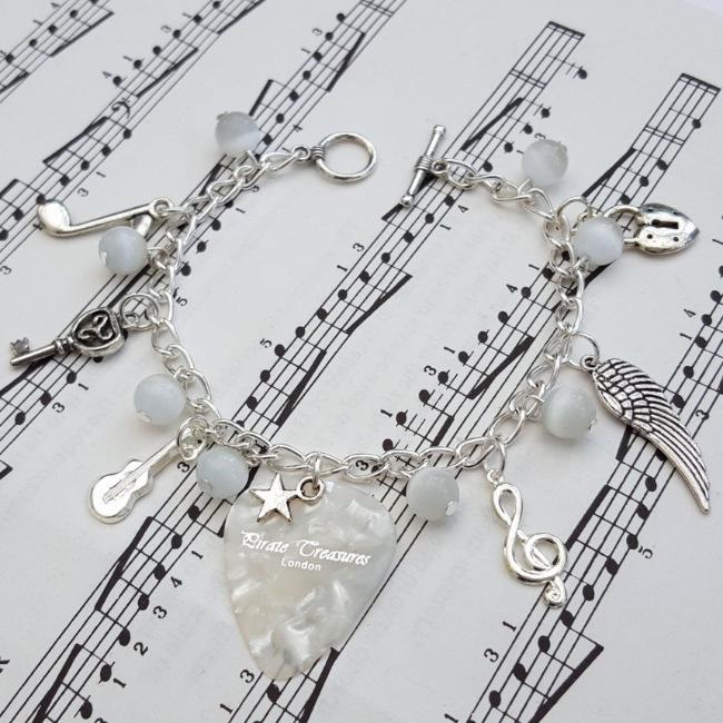 Plectrum charm bracelet in white - It's Not Rock & Roll - CCB056