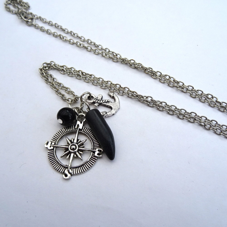 Black onyx tusk, compass & anchor charm necklace MN026