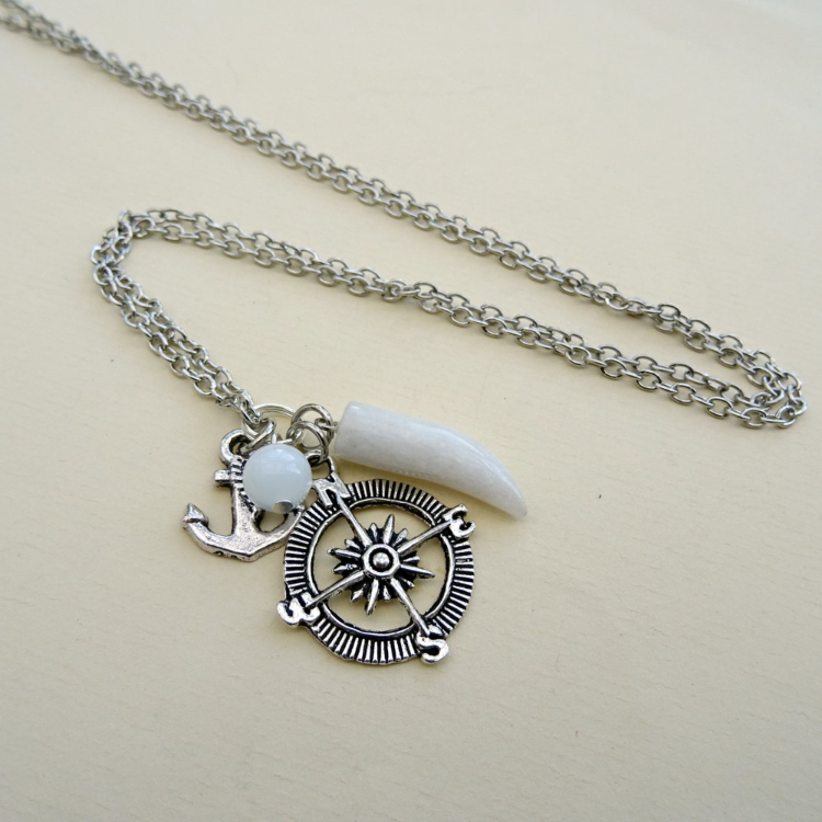 White quartz tusk, compass & anchor charm necklace MN027