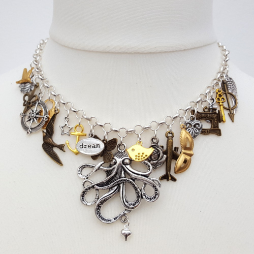 Statement charm necklace in silver, brass and bronze CN089