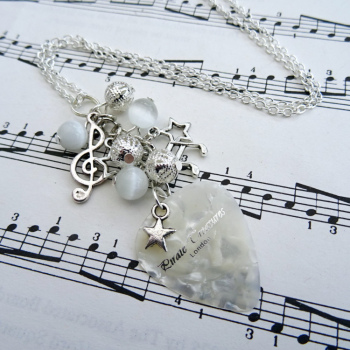 Rock'n'Roll Star plectrum charm necklace in white CN091