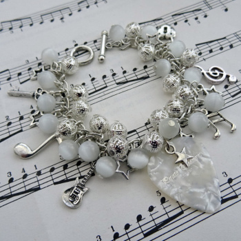 Rock'n'Roll Star plectrum charm bracelet in white CCB058