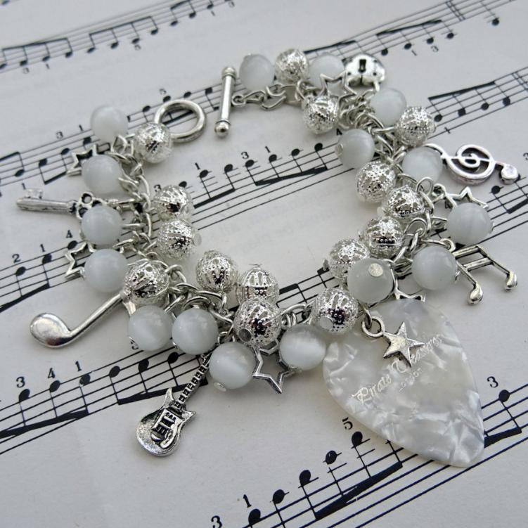 Rock'n'Roll Star plectrum charm bracelet in white CCB058