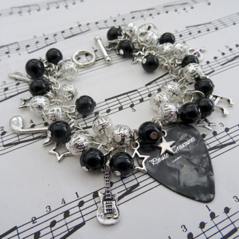 Rock'n'Roll Star plectrum charm bracelet in black CCB060
