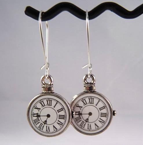 Pocket watch charm earrings - steampunk Alice in Wonderland style SE041