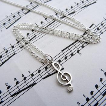 Silver treble clef charm necklace CN094