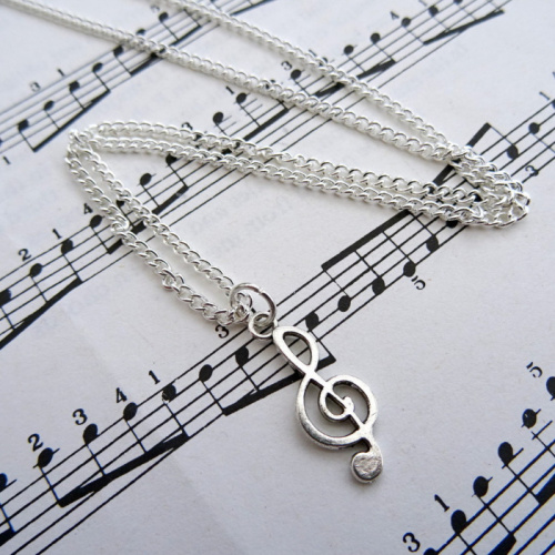 Silver treble clef charm necklace CN094