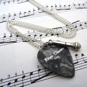 Plectrum & microphone charm necklace CN096