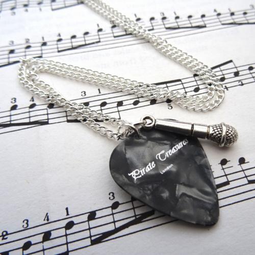 Plectrum & microphone charm necklace CN095