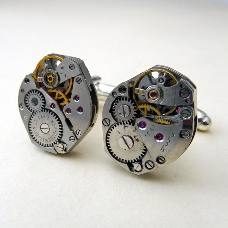 Steampunk cufflinks with watch movements
