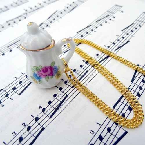 Vintage style china coffee tea pot necklace