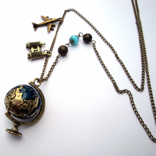 Globe travel charm necklace with plane and binoculars