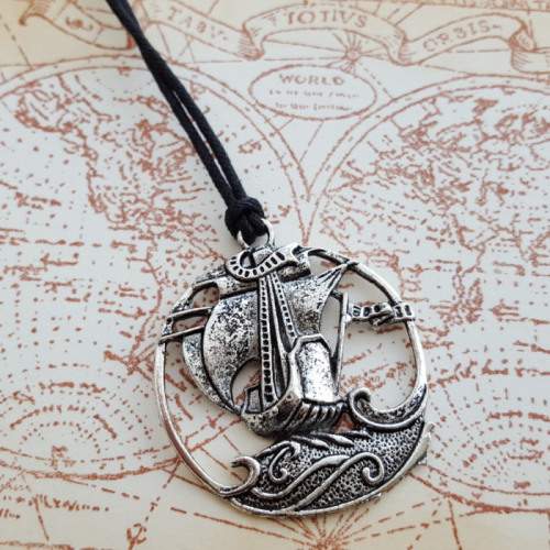 The Good Ship Albion pirate ship necklace on cord PN149