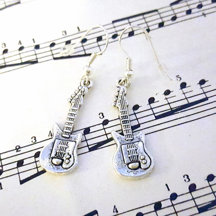 Silver guitar earrings CE022