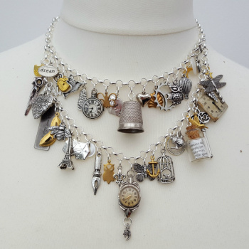 Statement charm necklace vintage assemblage Junkyard Angel collection VN114