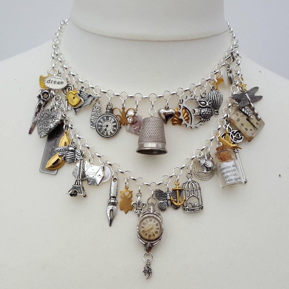 Statement charm necklace vintage assemblage Junkyard Angel collection VN114