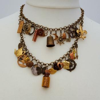 Statement charm necklace vintage assemblage bronze & brass Junkyard Angel collection VN115