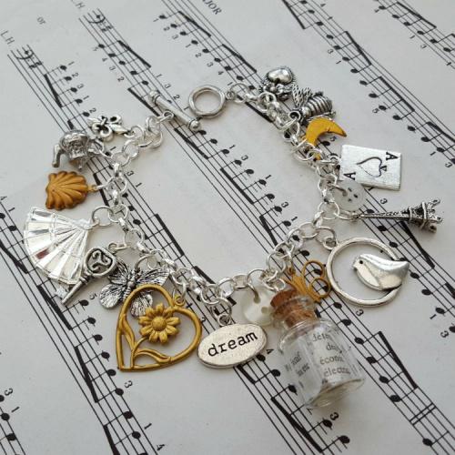 Statement assemblage vintage silver charm bracelet VCB028