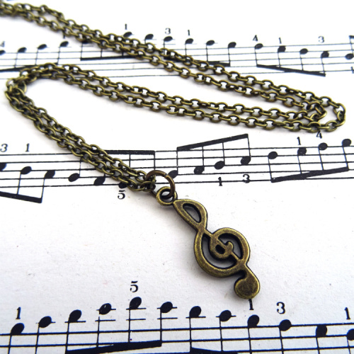 Antique bronze treble clef charm necklace CN099
