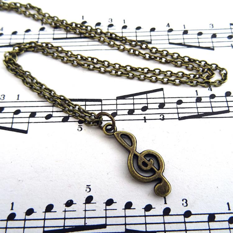 Antique bronze treble clef charm necklace CN099