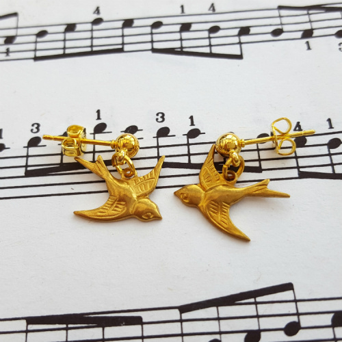 Brass swallow bird earrings on gold plated studs VE055