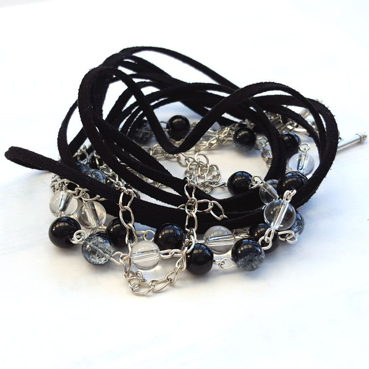 Wrap bracelet with black faux suede, chain and beads CB002