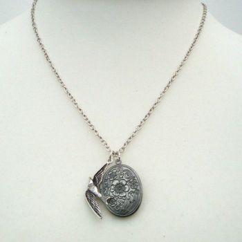 Antique silver locket and bird necklace VN117