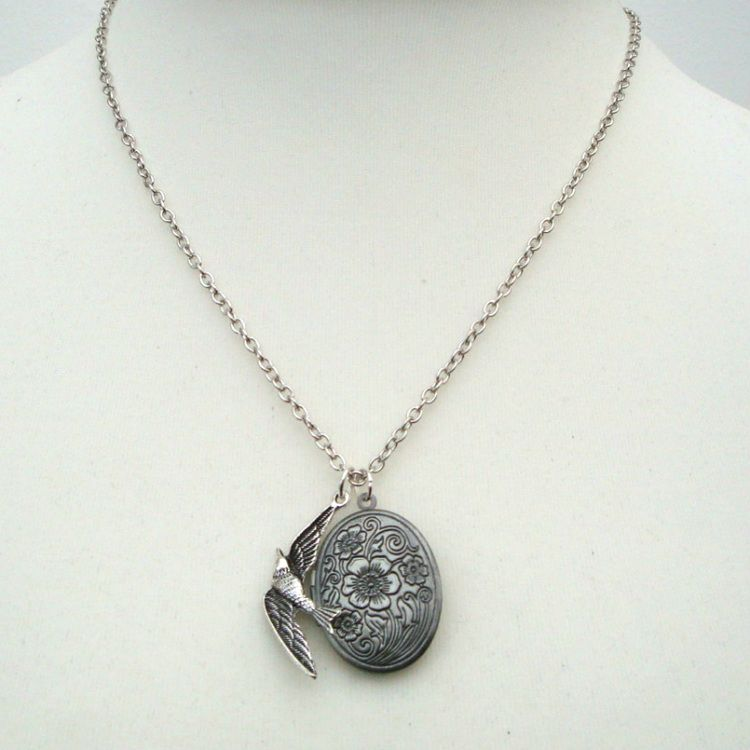 Antique silver locket and bird necklace VN117