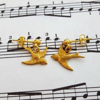 ve055 brass bird earrings