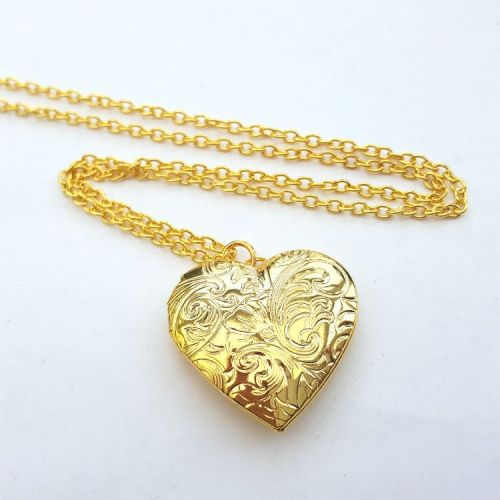 Gold heart locket necklace pirate treasures jewellery london gold heart shaped locket necklace vn064 aloadofball Choice Image